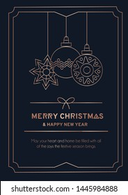 Merry Christmas greeting card with rose gold linear snowball, snowflakes and navy blue background. Line art New Year greetind card or invitation. Vector illustration