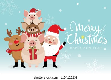 Merry Christmas greeting card with Santa Claus, deer, piggy and boar. 2019 year of the pig. Cute animal holiday cartoon character vector. Calligraphy hand written.