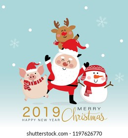 Merry Christmas greeting card with Santa Claus, deer, snowman and piggy. 2019 year of the pig. Cute animal holiday cartoon character vector.
