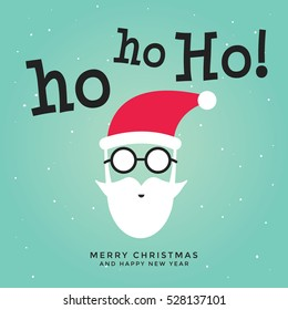 Merry Christmas greeting card with Santa Claus say Ho ho.