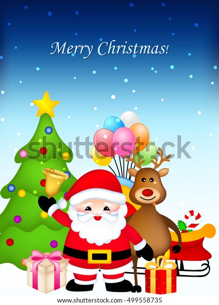 Merry Christmas Greeting Card Santa Claus Stock Vector Royalty Free 499558735