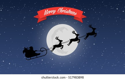 Merry Christmas greeting card, Santa's sleigh with reindeer on background of night sky with stars and moon