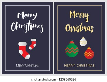 Merry Christmas greeting card set. EPS10 vector.