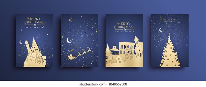Merry Christmas greeting card set. Winter xmas town landscape with village houses, reindeer sled and pine tree in 3D papercut craft style for event invitation or season greetings.