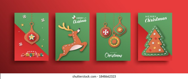 Merry Christmas greeting card set. Colorful xmas ornament decoration, reindeer and pine tree in 3D papercut craft style for event invitation or season greetings.