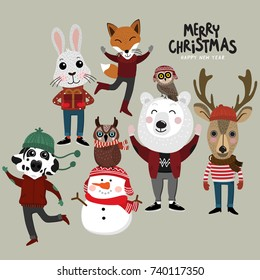 Merry Christmas greeting card set with cute snowman, owl, rabbit, deer, dog, bear and fox