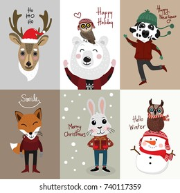 Merry Christmas greeting card set with cute snowman, owl, rabbit, deer, dog, bear and fox
