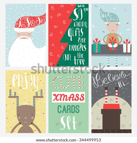 Merry christmas greeting card set cute stock vector royalty free merry christmas greeting card set with cute xmas tree santa and deer retro designs m4hsunfo