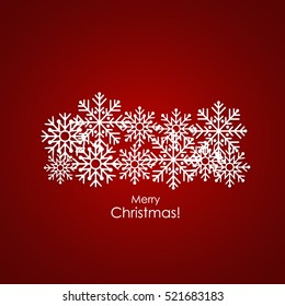 Merry Christmas Greeting Card with snowflakes, vector illustration.