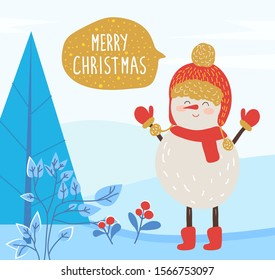 Merry christmas greeting card. Snowman character wearing warm clothes smiling. Winter landscape with pine tree and red berry growing on ground. Xmas celebration and new year congrats, vector