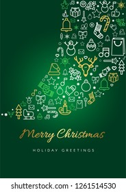 Merry Christmas greeting card template. Blizzard silhouette and lettering, linear Xmas festive icons