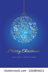 Merry Christmas greeting card template. Xmas bauble silhouette with lettering, linear festive icons