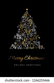 Merry Christmas greeting card template. Xmas tree silhouette with lettering and linear festive icons