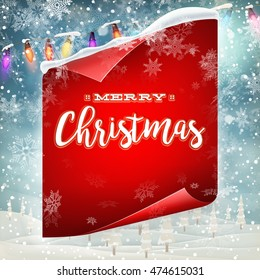 Merry Christmas greeting card template with red scroll paper. EPS 10 vector file included