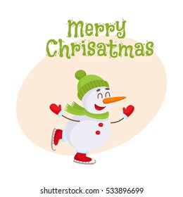 cute funny little snowman ice skating stock vector royalty free