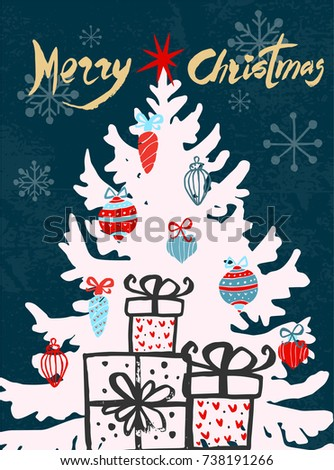 Merry Christmas Greeting Card Template Christmas Stock Vector
