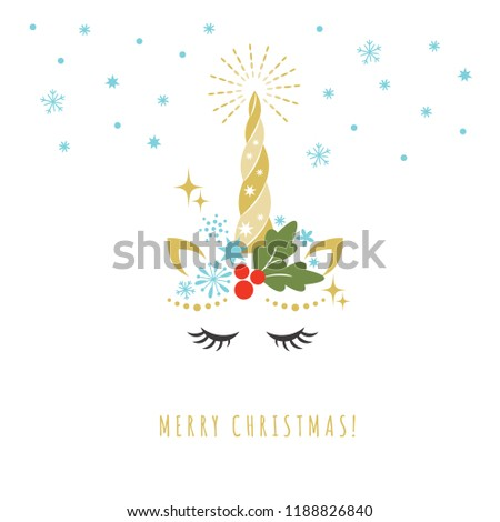 merry christmas greeting card unicorn vector stock vector royalty