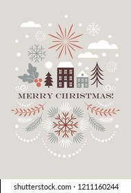 Merry christmas greeting card , Vector illustration
