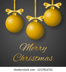 Merry Christmas greeting card vector with sumptuous golden bulbs hanging on decorated ribbons on gray background.