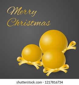 Merry Christmas greeting card vector of sumptuous golden bulbs with decorated ribbons on gray background.