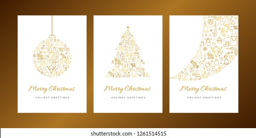 Merry Christmas greeting card vector template set. Xmas decorations linear icons with calligraphy
