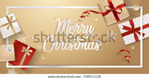 Merry Christmas Greeting Card Vector Illustration Stock