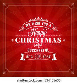 Merry Christmas Greeting Card. Vintage Typographic White Badge on Red Background with Rays. Vector Illustration