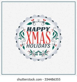 Merry Christmas Greeting Card. Vintage Typographic Badge with Misletoe Branch and Light Background. Vector Illustration