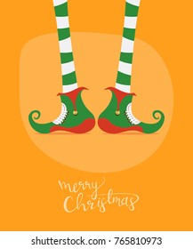 Merry Christmas greeting card wishes you Elfs