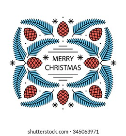 Merry Christmas greeting card wreath composition with fir tree branches and cones. Flat style thin line art color icons set isolated on white background.