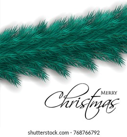 Merry Christmas greeting card with wreath of fir tree branches background Winter holiday party invitation.