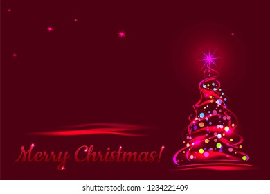 Merry Christmas! Greeting card with xmas tree on red background. Vector template illustration.