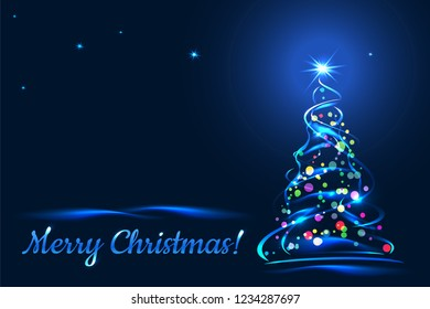 Merry Christmas! Greeting card with xmas tree on blue background. Vector template illustration.
