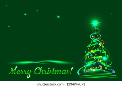Merry Christmas! Greeting card with xmas tree on green background. Vector template illustration.