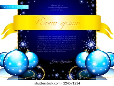 Merry Christmas greeting card with Xmas balls and shining stars - layout template vector eps10