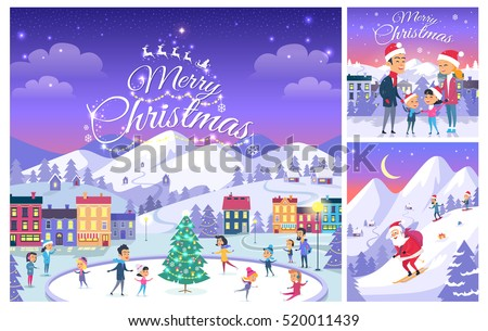 Merry christmas greeting cards design celebration stock vector merry christmas greeting cards design for celebration christmas happy people on ice rink m4hsunfo