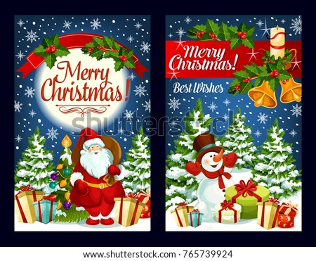 Merry Christmas Greeting Cards Design Santa Stock Vector (Royalty ...