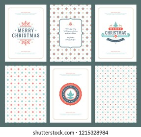 Merry Christmas greeting cards templates and patterns backgrounds. Vector illustration.