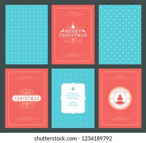 Merry Christmas greeting cards templates and patterns backgrounds, with place for Christmas holidays wish typographic design.Vector illustration.