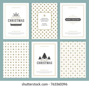 Merry Christmas greeting cards templates and golden patterns backgrounds, with place for Christmas holidays wish typographic design.Vector illustration.