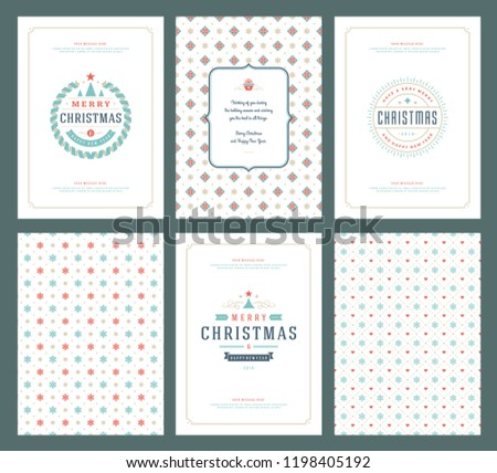 merry christmas greeting cards templates patterns stock vector