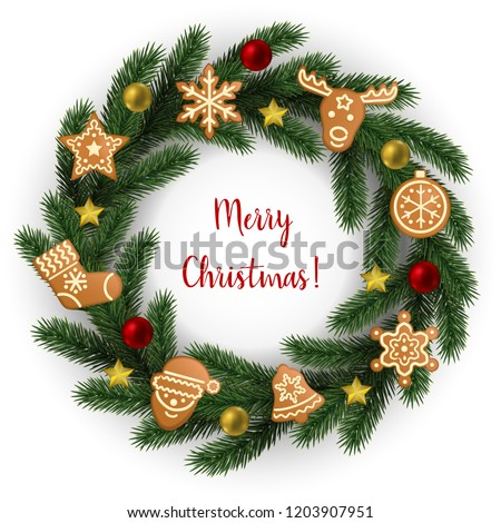 merry christmas greeting catd round fir stock vector royalty free