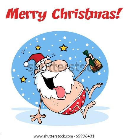 Merry Christmas Greeting Drunk Santa Clause Stock Vektorgrafik