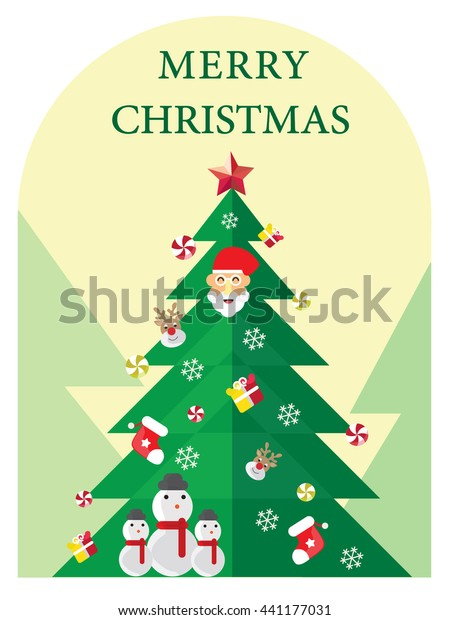 Merry Christmas Greeting Invitation Card Vector Stock Vector