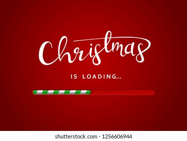 Merry Christmas greeting message on the red background with loading bar underneath the sign