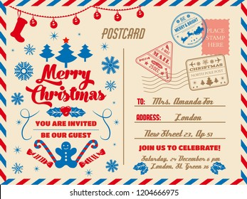 Merry Christmas greeting postcard, winter holiday congratulation and party invitation. Vector postal card with stamps and address, Xmas tree and holly berry. Cane candy and gingerbread cookie, garland