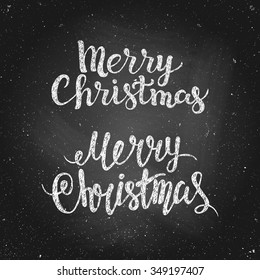 Merry Christmas - greeting quote on chalkboard. Hand drawn chalk lettering. Vector illustration. Design by flyer, banner, poster, printing, mailing