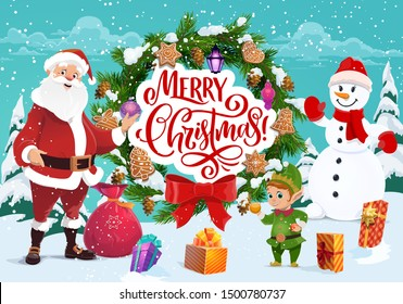 Merry Christmas greeting, Santa Claus and snowman, elf helper. Vector fir or spruce branches with cone, bow and gingerbread cookie, lantern. Presents sack and gift boxes, Xmas tree decorations