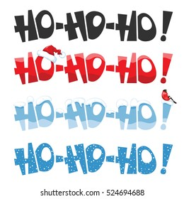Merry Christmas greeting set with lettering Hohoho. Vector illustration.