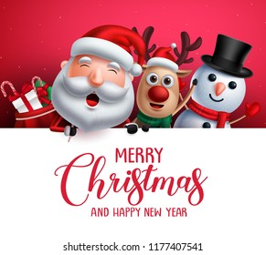 Merry christmas greeting template  with santa claus, snowman and reindeer vector characters singing christmas carol while holding empty white space for christmas wish list. Vector illustration.